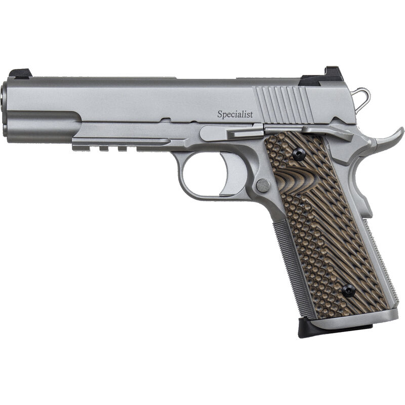"""Dan Wesson 1911 Specialist Government 9mm Luger Semi Auto Pistol 5"""" Barrel 10 Rounds Fixed Night Sights G-10 Grips Stainless Steel Bead Blasted Finish"""