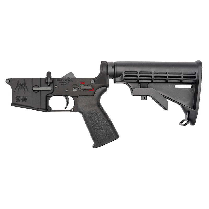 Spikes Tactical Spider AR-15 Complete Lower Receiver Assembly Color Filled  Synthetic Furniture Matte Black