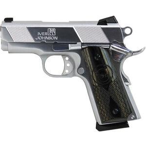 "Iver Johnson Thrasher 1911 9mm Luger Semi Auto Pistol 7 Rounds 3.12"" Bull Barrel Wood Grips Chrome Finish"
