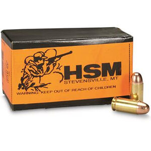 HSM .45 ACP 50 Rounds Training Ammunition 230 Grain Round Nose Lead Plated Bullet 825fps