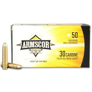 Armscor USA .30 Carbine Ammunition 1,000 Rounds, FMJ, 110 Grains