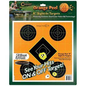 """Caldwell Orange Peel Sight-In Targets 8"""" 5-Pack 522357"""