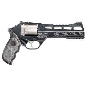 """Chiappa Charging Rhino Revolver 60DS 9mm 6"""" Barrel 6 Rounds Grey Laminate Grips Black Frame Nickel Cylinder"""