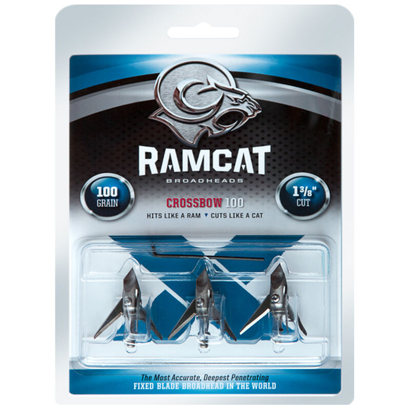 "Ramcat Broadheads Original Crossbow Three Blade Fixed Broadheads 100 Grain 1.375"" Cut Airfoil Tip Stainless Steel Ferrule and Blades 3 Pack"