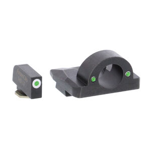 AmeriGlo Ghost Ring Sight Sets Fits GLOCK 17/19/26 Gen 1-4 Green Tritium White Outline Front Sight Steel Housing Matte Black