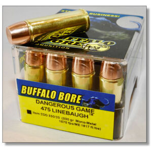 Buffalo Bore Dangerous Game .475 Linebaugh Ammunition 20 Rounds Mono-Metal Lead Free FN 330 Grain 2DG 330/20