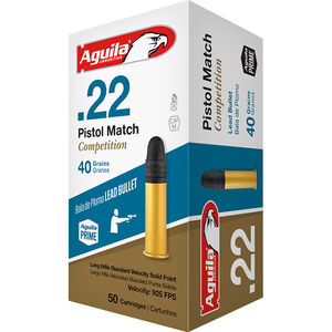 Aguila Pistol Match Competition .22LR Ammunition  40 Grain LRN 925 fps