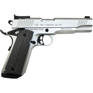 "EAA GiRSAN MC1911 Match Elite .45 ACP 1911 Semi Auto Pistol 5"" Barrel 8 Rounds Full Sized Government Profile G10 Grips Matte Chrome Finish"