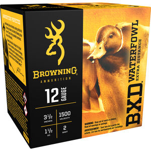 "Browning BXD Waterfowl 12 Gauge Ammunition 250 Rounds 3 1/2"" #2 Steel 1-1/2 Ounce B193411242"