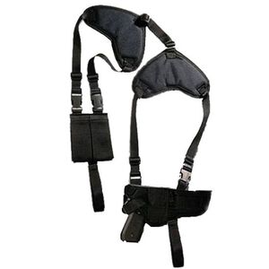 Bulldog Cases Deluxe Horizontal Shoulder Holster 1911 Government, Commander Semi Autos Ambidextrous with Double Magazine Pouch Nylon Black WSHD15