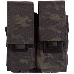 Voodoo Tactical AR-15/M4/M16 Double Magazine Pouch Hook/Loop Flap PALS Webbing Compatible Nylon Black Multi-Cam