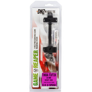 DNZ Products Game Reaper One Piece Scope Base/Ring Combo Tikka T3/T3X 30mm Tube High Height Aluminum Matte Black