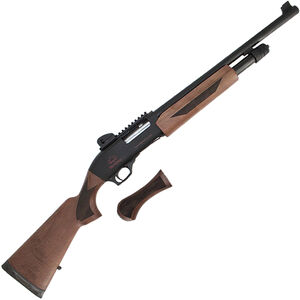 """Black Aces Tactical Pro X Series 12 Gauge Pump Action Shotgun 18.5"""" Barrel 3"""" Chamber 5 Rounds Fixed Sights Walnut Stock/Forend Black Finish"""