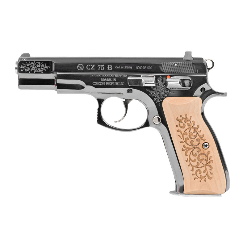 """CZ USA CZ 75 B 45th Anniversary 9mm Luger Semi Auto Pistol 4.6"""" Barrel 16 Rounds Fixed Sights Steel Frame Wood Grips High Gloss Blued Finish"""