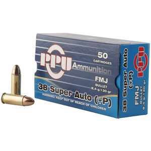 Prvi Partizan PPU .38 Super +P Ammunition 50 Rounds 130 Grain FMJ 1213fps