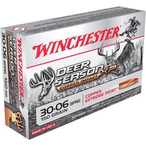 Winchester Deer Season XP Copper Impact .30-06 Springfield Ammunition 20 Rounds 150 Grain LF Solid Copper Poly Tip 2920fps
