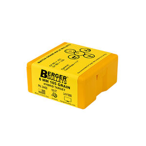 "Berger Bullets Target 6mm .243"" Diameter 105 Grain Hybrid Target 100 Count"