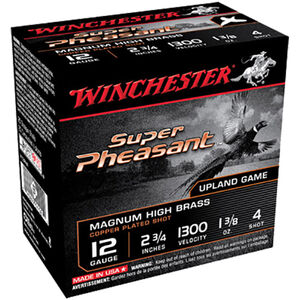 "Winchester Super Pheasant HV High Brass 12 Gauge Ammunition 25 Round Box 2-3/4"" #4 Copper Plated Lead Shot 1-3/8 oz 1300 fps"