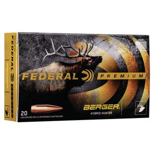Federal Premium Berger Hybrid Hunter .30-06 Springfield Ammunition 20 Rounds 168 Grain Berger Hybrid 2950fps