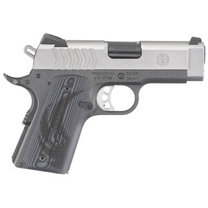 "Ruger SR1911 Lightweight Officer 9mm Luger Semi Auto Pistol 3.6"" Barrel 8 Rounds Novak SIghts G10 Grips Stainless"