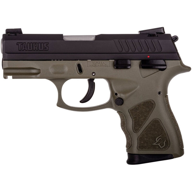 "Taurus TH9c 9mm Luger Semi Auto Pistol 3.5"" Barrel 17 Rounds Thumb Safety OD Green Polymer Frame Black Slide"