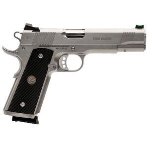 "Wilson Combat CQB Elite Full Size 1911 Semi Automatic Handgun .45 ACP 5"" Barrel 8 Rounds Diagonal G10 Grips Natural Stainless Steel Finish"