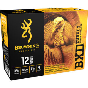 "Browning BXD Turkey 12 Gauge Ammunition 100 Rounds 3.50"" #4 Plated Lead 1.875 Ounce B193911244"