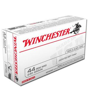 Winchester USA .44 Rem Mag 240 Grain JSP 50 Round Box