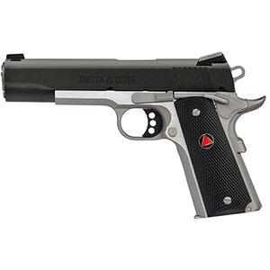 "Colt Delta Elite TT 10mm Semi Auto Pistol 5"" Barrel 8 Rounds Composite Grips Two Tone Black and Stainless Finish"