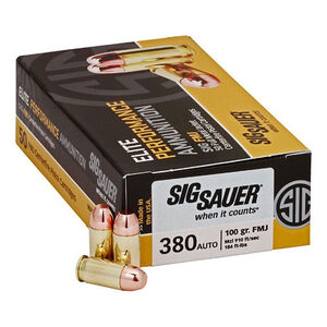 SIG Sauer Elite Performance .380 ACP Ammunition 100 Grain FMJ 910fps