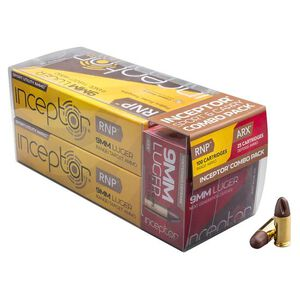 Inceptor Sport/Carry Combo Pack 9mm Luger Ammunition 125 Total Rounds 65 Grain RNP/65 Grain ARX Lead Free Injection Molded Copper-Polymer Projectile