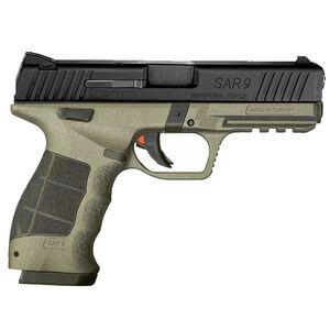 "Sarsilmaz USA SAR 9 Semi Auto Pistol 9mm Luger 4.4"" Barrel 17 Rounds Fixed Sights Striker Fired Accessory Rail Polymer Frame OD Green/Black Finish"