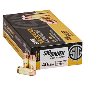 SIG Sauer Elite Performance .40 S&W Ammunition 50 Rounds 180 Grain Full Metal Jacket 985fps