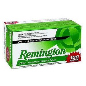 Remington UMC .45 ACP Ammunition 100 Rounds 230 Grain Jacketed Hollow Point 835fps