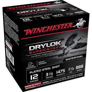 "Winchester Drylok Super Steel High Velocity 12 Gauge Ammunition 25 Round Box 3-1/2"" BBB Plated Steel Shot 1-1/2 oz 1475 fps"