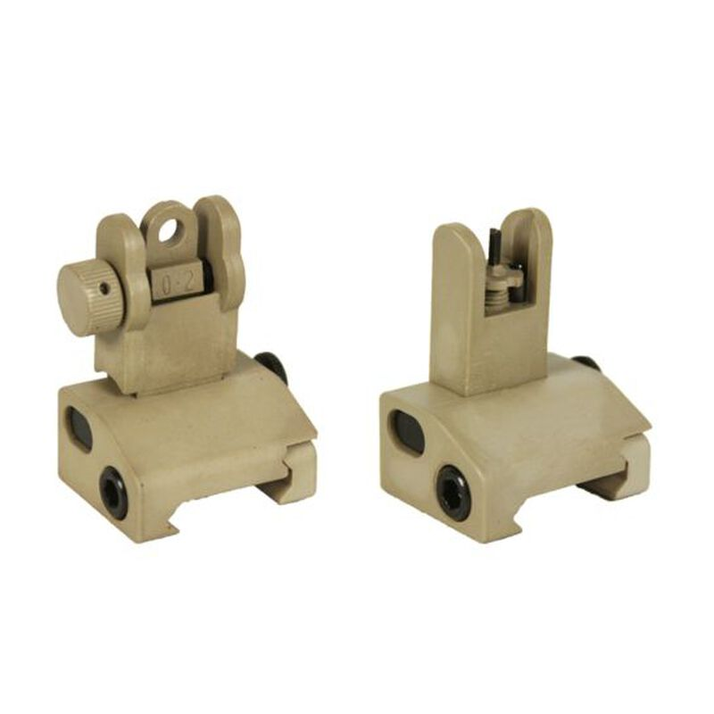 JE Machine Flip up Polymer Front and Rear Sight Set Tan
