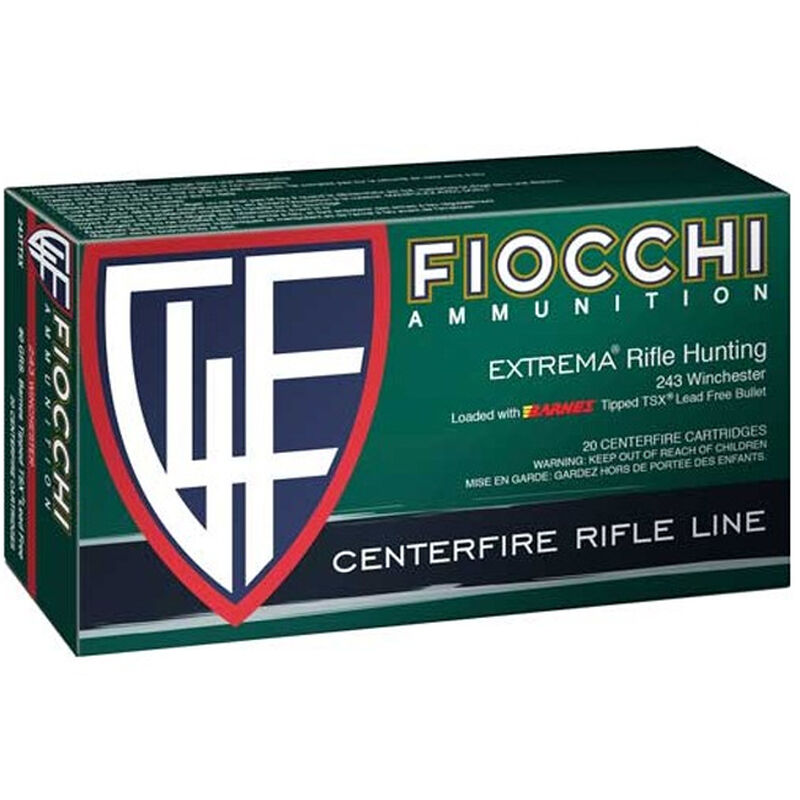Fiocchi Extrema Leadless  243 Winchester Ammunition 20 Rounds 80 Grain  Barnes Tipped TSX Lead Free Projectile 3275 fps