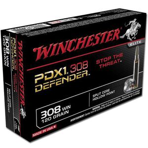 Winchester PDX1 Defender .308 Win Ammunition 20 Rounds 120 Grain Bonded JHP 2850fps