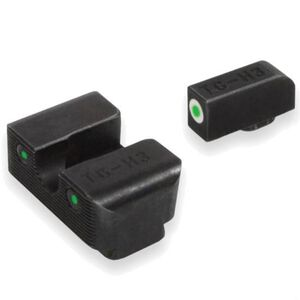TruGlo Brite Site Tritium Pro S&W M&P Series Front/Rear Night Sight Set Green Tritium 3-Dot Configuration Front White Focus Lock Ring Steel Black