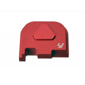 Strike Industries GLOCK Slide Cover Plate Fits GLOCK 43 Only V1 Button Aluminum Red SI-GSP-G43-V1-RED