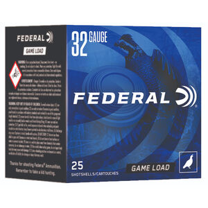 "Federal Game Load Upland 32 Gauge Ammunition 2-1/2"" #8 Lead Shot 11/16 Ounce 1260 fps"