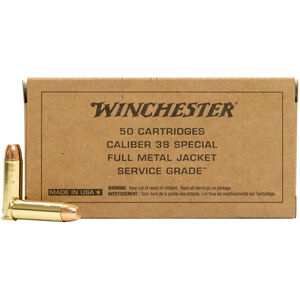 Winchester Service Grade .38 Special Ammunition 50 Rounds 130 Grain FMJ FN 800fps