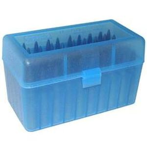 MTM Case-Gard R-50 Series Flip Top Rifle Ammo Box .458 SOCOM/.50 Beowulf 50 Rounds Clear Blue RSLD-50-24