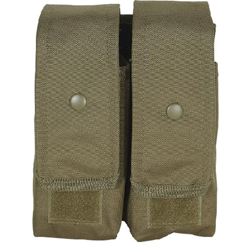 Voodoo Tactical AK47/AK74/M4/AR-15 Double Magazine Pouch Hook/Loop Flap Adjustable Snap Closure MOLLE Webbing Compatible Nylon Coyote Tan