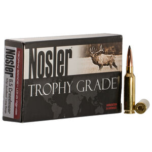 Nosler Trophy Grade Long Range 6.5 Creedmoor Ammunition 20 Rounds 142 Grain AccuBond LR Bullet 2600 fps