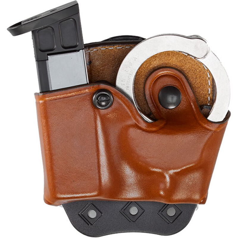 Aker Leather 519 DMS Combo Combination Magazine and Standard Handcuff Case Size 02 9mm Magazine Right Hand Leather Plain Tan A519TPRU-2