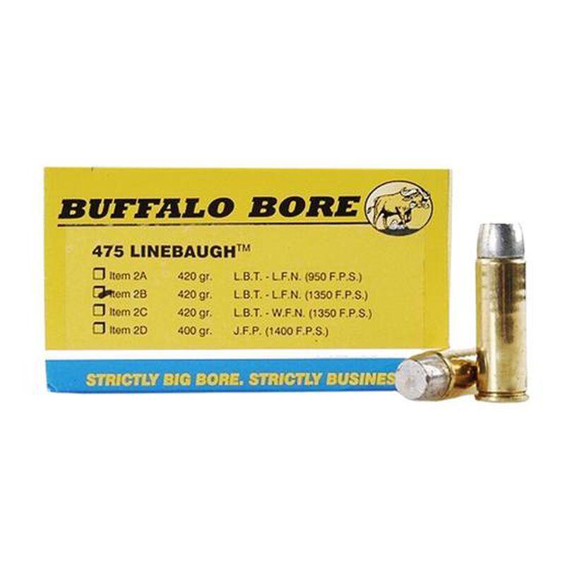 Buffalo Bore .475 Linebaugh Ammunition 20 Rounds Hard Cast LBT LFN 420 Grain 2B/20
