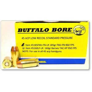 Buffalo Bore Low Recoil .45 ACP Ammunition 20 Rounds FMJ-FN 185 Grain 45-185FMJ-FN-LR/20