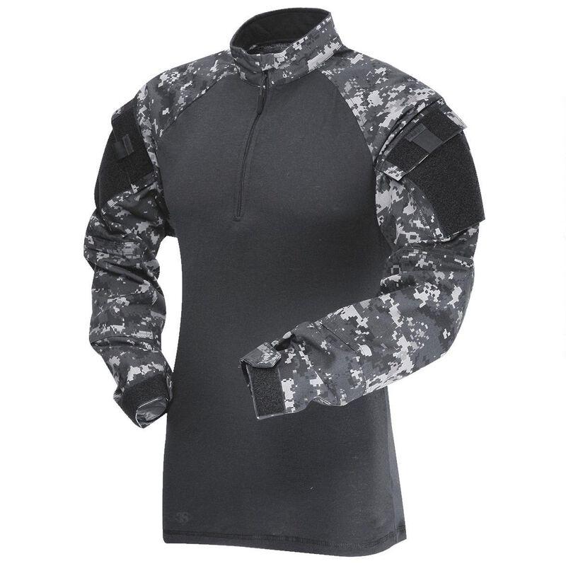 Tru-Spec TRU 1/4 Zip Combat Shirt Long Sleeve Men's Size Large Length Regular Polyester/Cotton Ripstop Urban Digital/Black