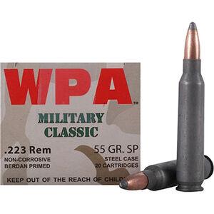 Wolf Military Classic .223 Remington Ammunition 55 Grain Bi-Metal Jacketed FMJ Steel Case